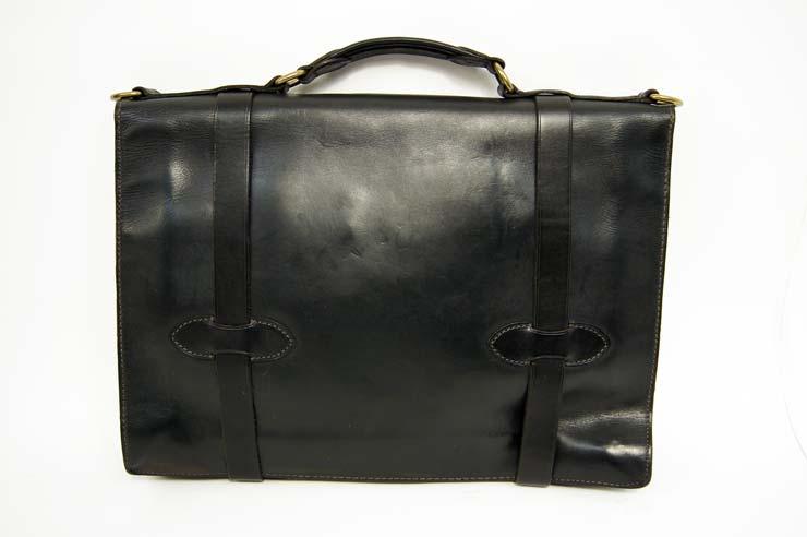 RRL Ralph Lauren DOUBLE RL leather Briefcase/black
