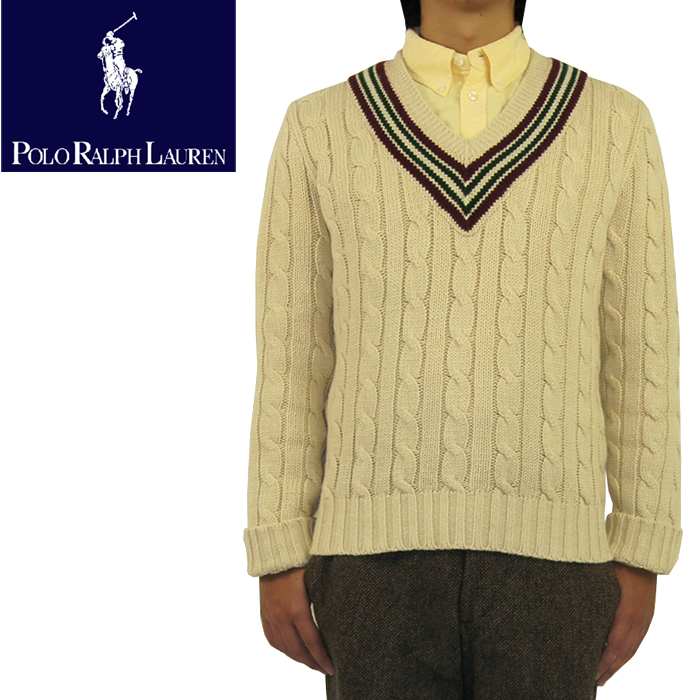 Beef Polo By Ralph Lauren Ralph Lauren Cable Knit V Neck College