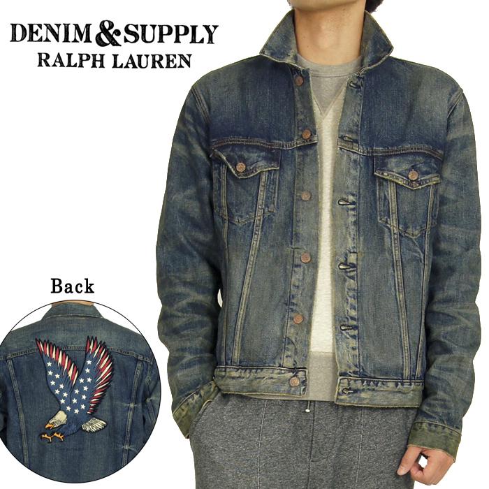 DENIM&SUPPLY by Ralph Lauren粗斜纹布&供给复古加工鹰徽章粗斜纹布茄克