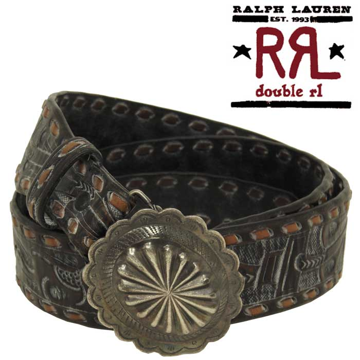 RRL Ralph Lauren DOUBLE RL Vintage Processing Concho Buckle Carving Leather Belt