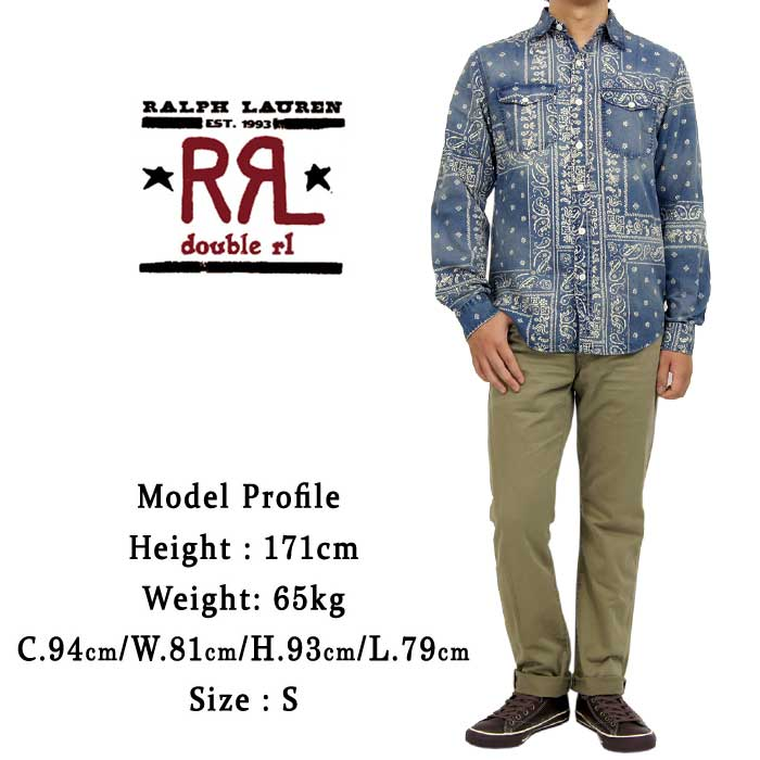 RRL Ralph Lauren DOUBLE RL double Aurel bandana print Indigo shirt
