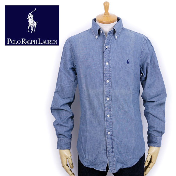 98654bad Ralph Lauren POLO Ralph Lauren SLIM FIT one point pony wash processing  chambray button-down shirt