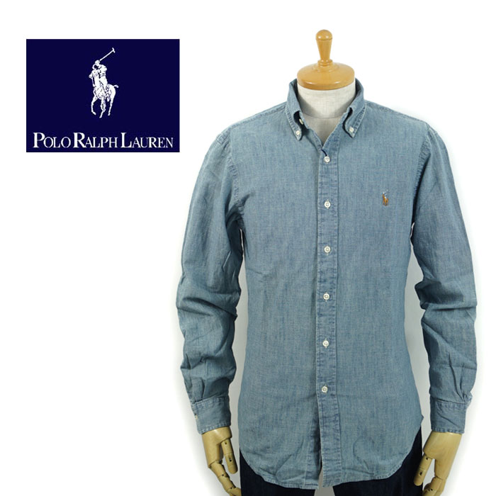 Polo Chambray Button Point Slim Lauren Shirt Fit Pony Ralph Down One rCxWodeB