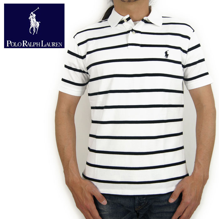 Horizontal Ralph Lauren Black Stripe Fitting Shirt White Polo Custom wP8kXNOn0Z