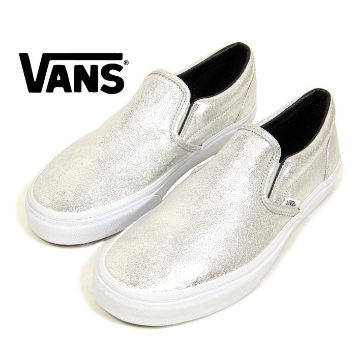 vans metallic silver slip on shoes - 60