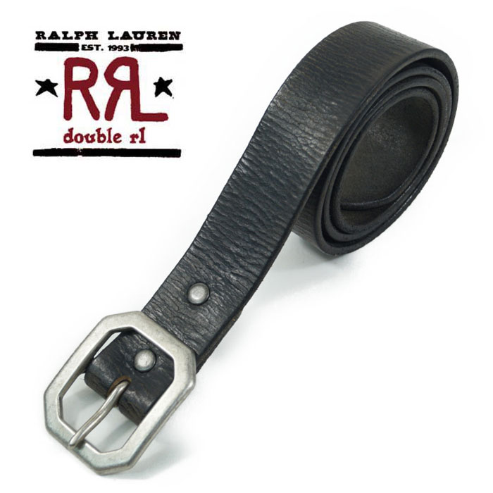 RRL ラルフローレン DOUBLE RL MADE IN ITALY BURLINGTON LEATHER BELT レザー ベルト ブラック あす楽