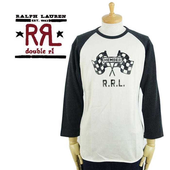 ダブルアールエル RRL ラルフローレン チェッカーフラッグ 7分丈 ジャージ ベースボール シャツ あす楽