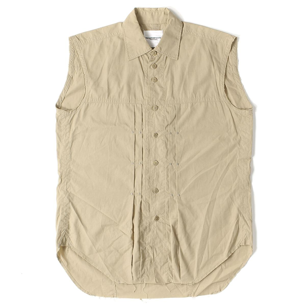 (the Solo Ist) Silk Blend Cotton No Sleeve Riders Shirt (sleeveless Riders  Shirt) Beige 44