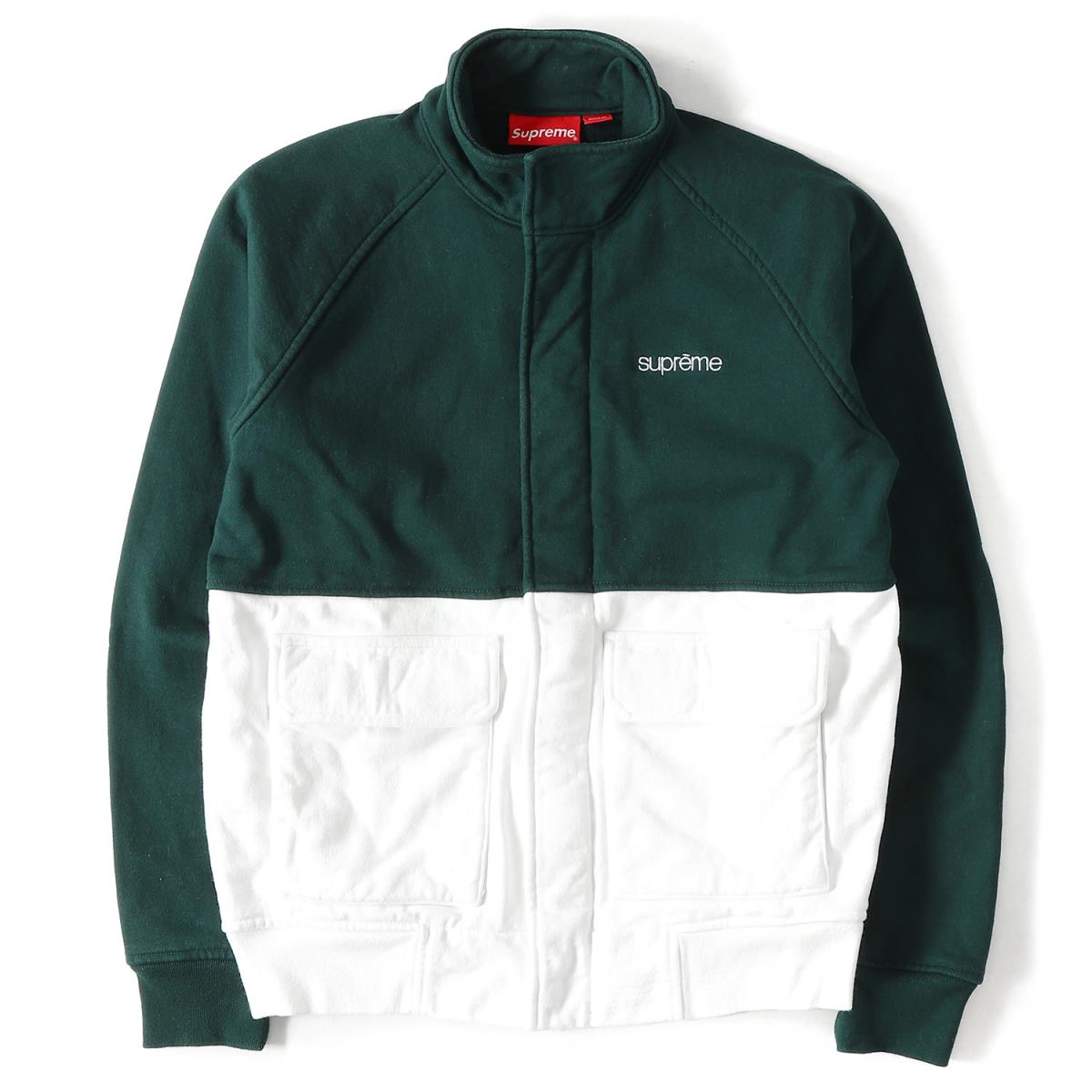 Supreme シュプリーム 14a W Classical Music Logo 2 Tone Color Sweat Shirt Jacket Fleece Warm Up Green X White S