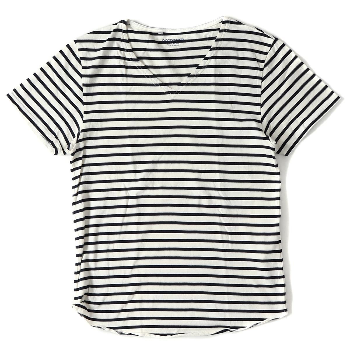 6e6fdbba63b784 NONNATIVE (non-native) Malin horizontal stripe V neck T-shirt (MARINER TEE  SS V COTTON BORDER JERSEY) white X navy 2