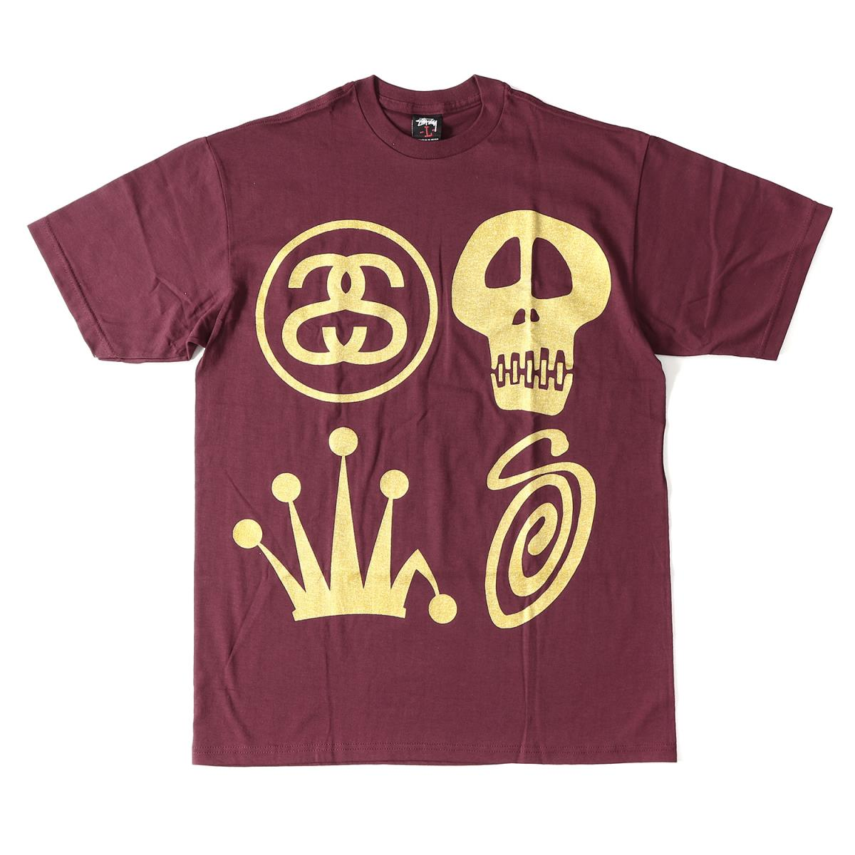 BEEGLE by Boo-Bee  STUSSY (ステューシー) gold icon T-shirt burgundy ... 04aa8a52a