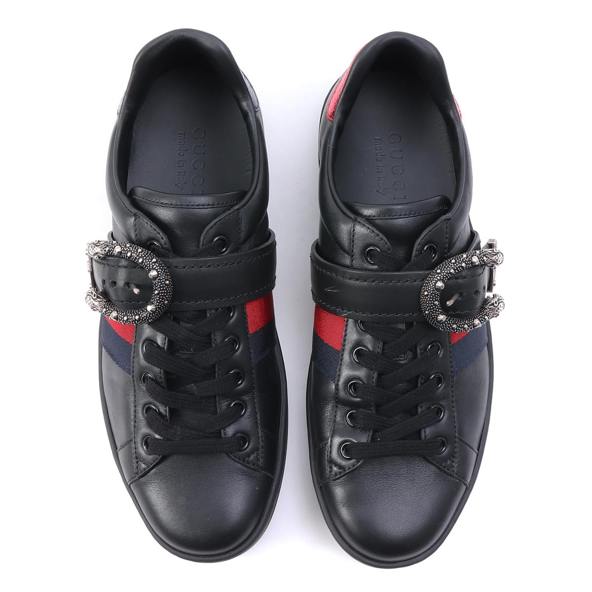 42828d7436193 Sherry line leather sneakers (Ace sneaker with Dionysus buckle) black 8  with the GUCCI (Gucci) 17A W belt