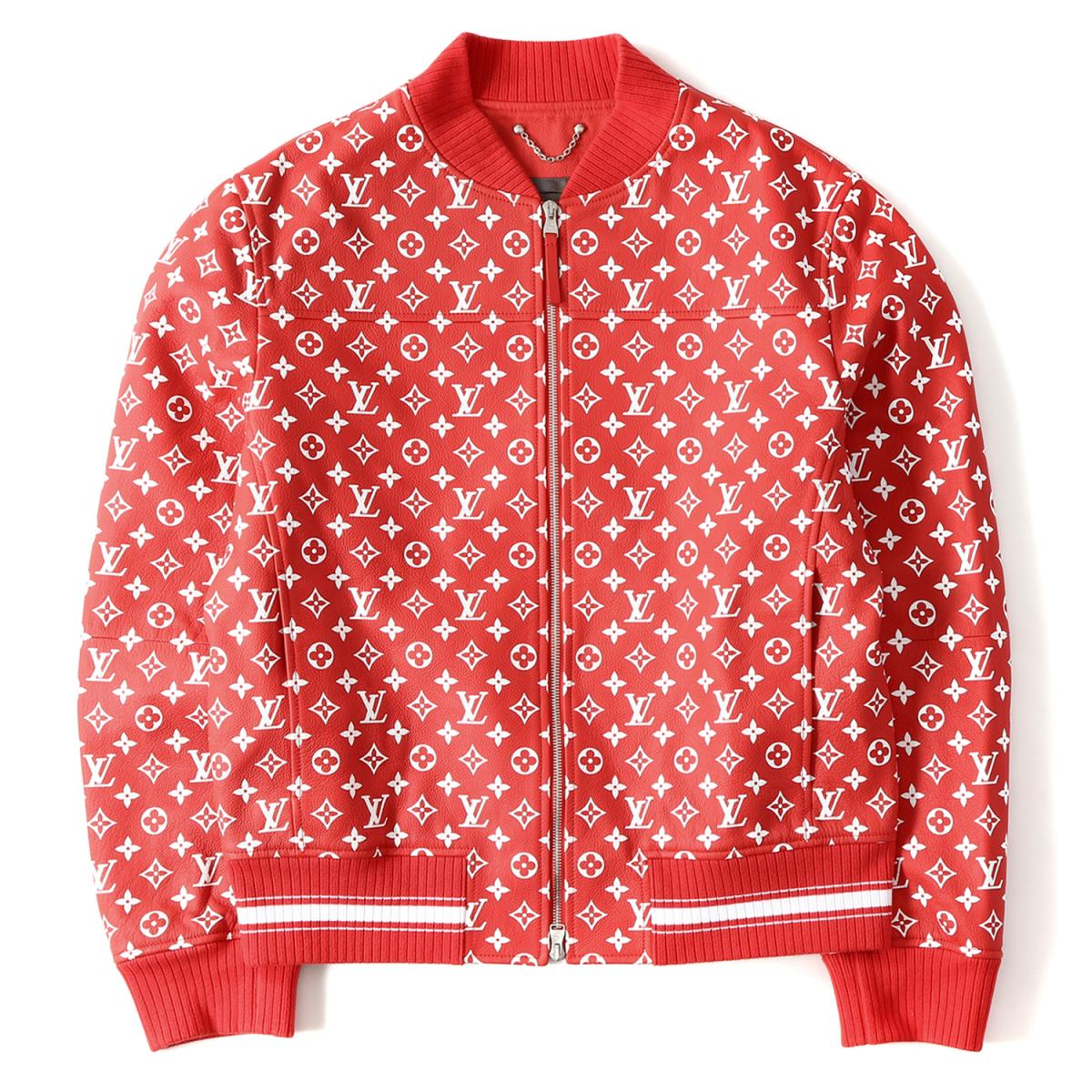 Supreme シュプリーム 17a W X Louis Vuitton Monogram Leatherette Jacket Leather Baseball Red 52