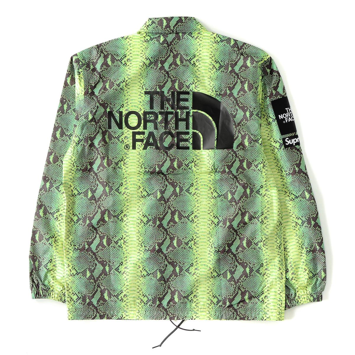Supreme (シュプリーム) 18SS ×THE NORTH FACE スネーク柄コーチジャケット(Snake Coaches Jacket) モヒートグリーンスネーク S 【K1951】【あす楽☆対応可】