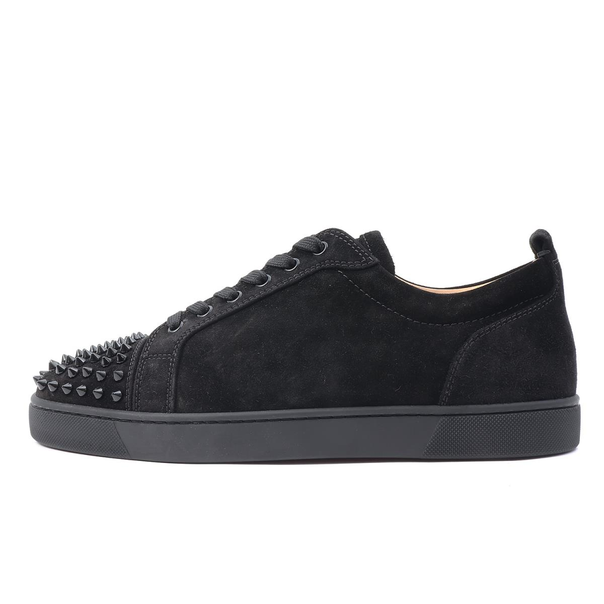 super popular cbf52 6684e Christian Louboutin (クリスチャンルブタン) studs suede cloth leather sneakers (LOUIS  JUNIOR SPIKES FLAT VEAU VELOURS) black 42 1/2