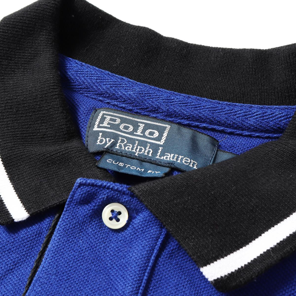 POLO by Ralph Lauren (polo by Ralph Lauren) Italy design BIC pony embroidery fawn cotton short sleeves polo shirt (CUSTOM FIT) blue L