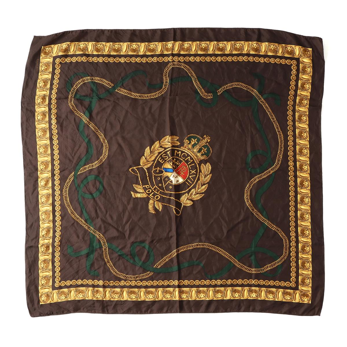 b379d6977adbd POLO by Ralph Lauren (polo by Ralph Lauren) 90 S vintage emblem   jewels  and ornaments pattern silk scarf brown