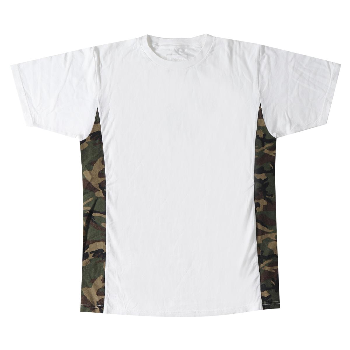 3d90f1c09d SOPHNET (ソフネット) camouflage pattern flannelette side panel T-shirt (MIX TEE  FLANNEL CAMOUFLAGE) white L
