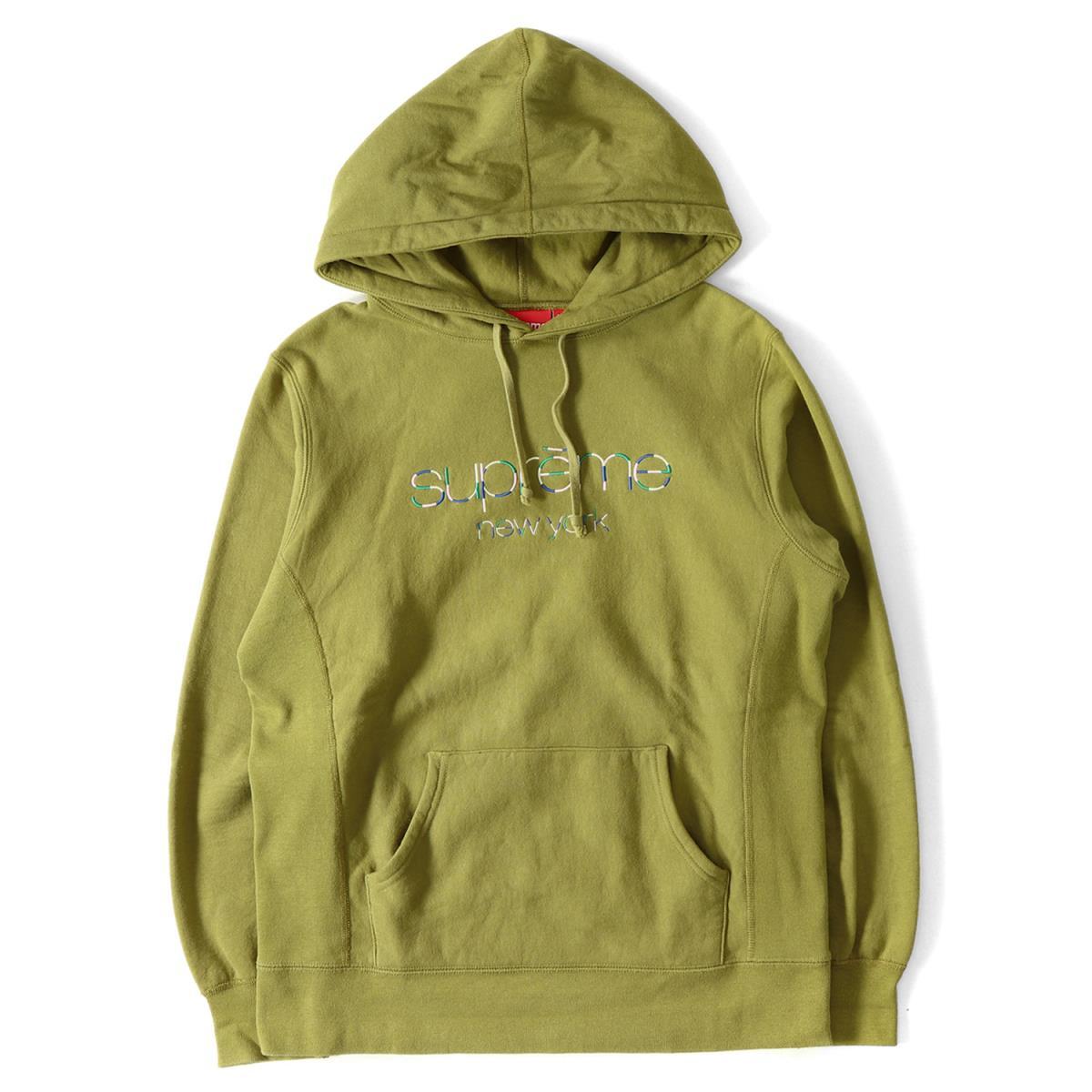 Supreme (シュプリーム) 17S/S クラシックロゴ刺繍スウェットパーカー(Multi Color Classic Logo Hooded) オリーブ M 【美品】【メンズ】【K2022】【中古】【あす楽☆対応可】