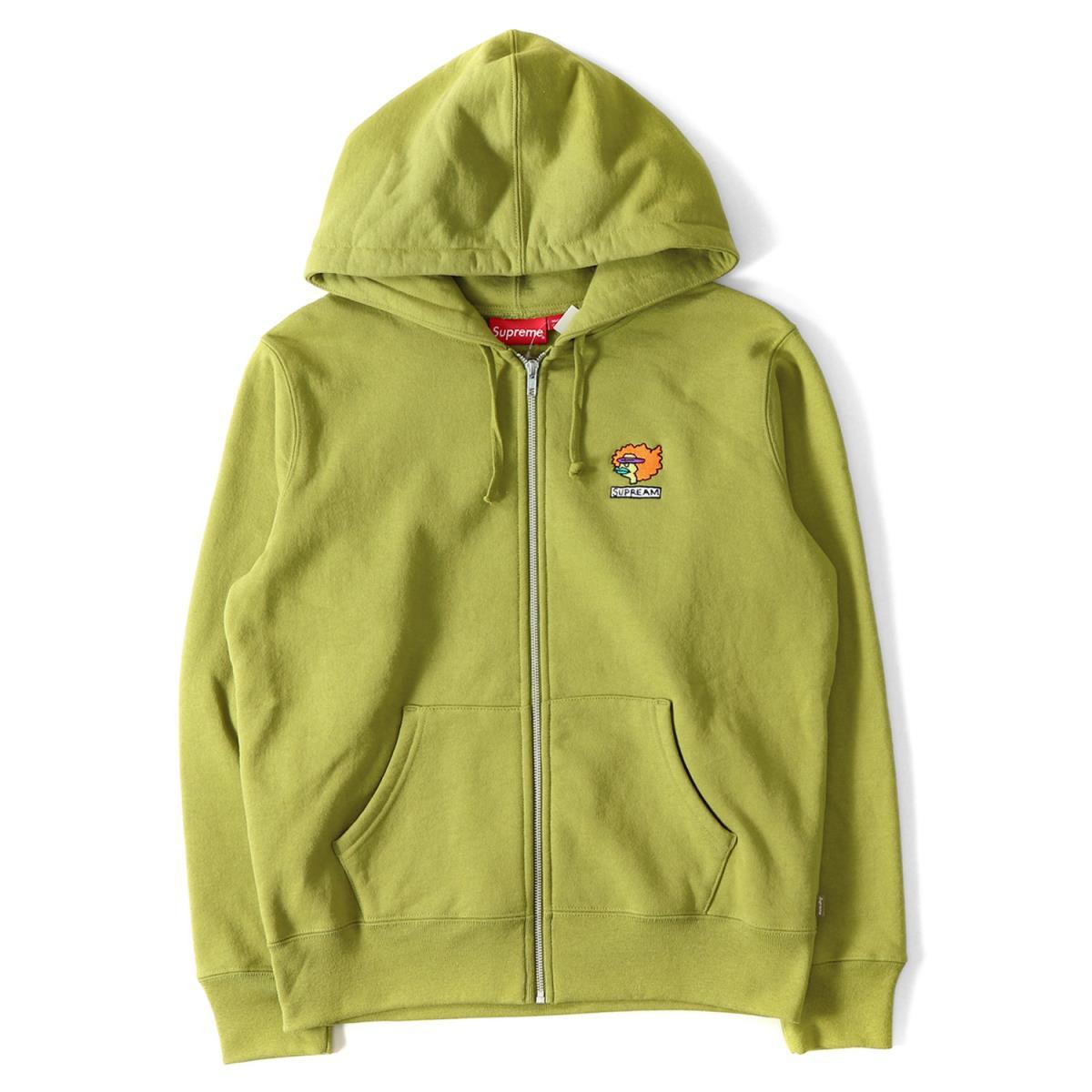 Supreme (シュプリーム) 17A/W ゴンズキャラ刺繍ジップスウェットパーカー(Gonz Ramm Zip Up Sweatshirt) モスグリーン S 【メンズ】【K2081】【あす楽☆対応可】