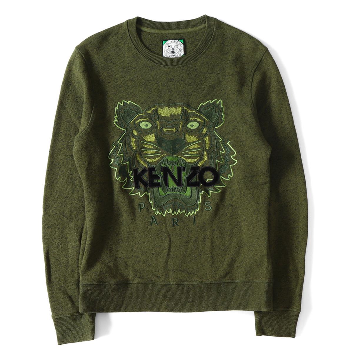 ea42bc24 KENZO (Kenzo) big tiger embroidery crew neck sweat shirt (Tiger Sweatshirt)  olive ...