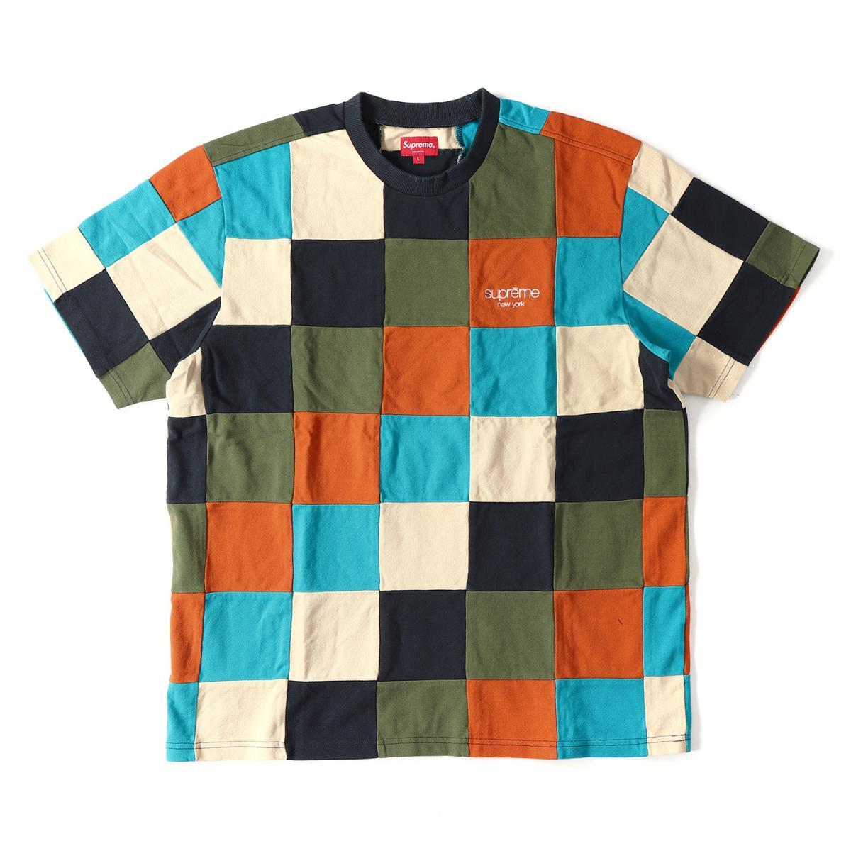 Supreme (シュプリーム) 18A/W クラシックロゴパッチワーク鹿の子Tシャツ(Patchwork Pique Tee) ネイビー L 【メンズ】【K2024】【あす楽☆対応可】