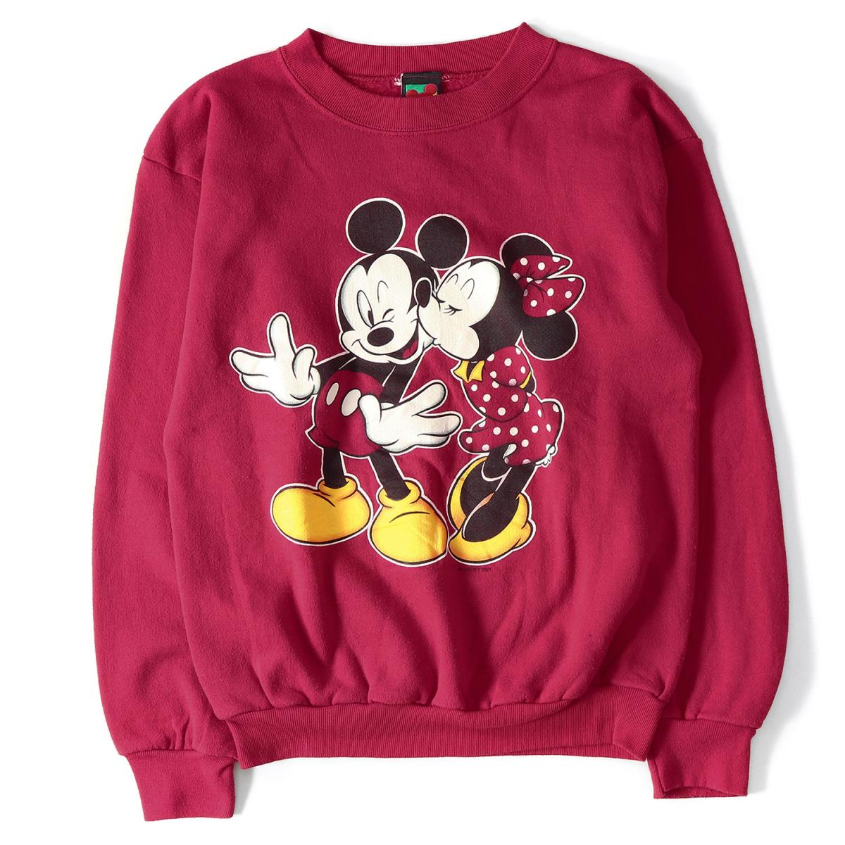 52e08dc11e Disney (Disney) 90' s Mickey Mouse & Minnie Mouse sweat shirt red ONE SIZE  ONE SIZE