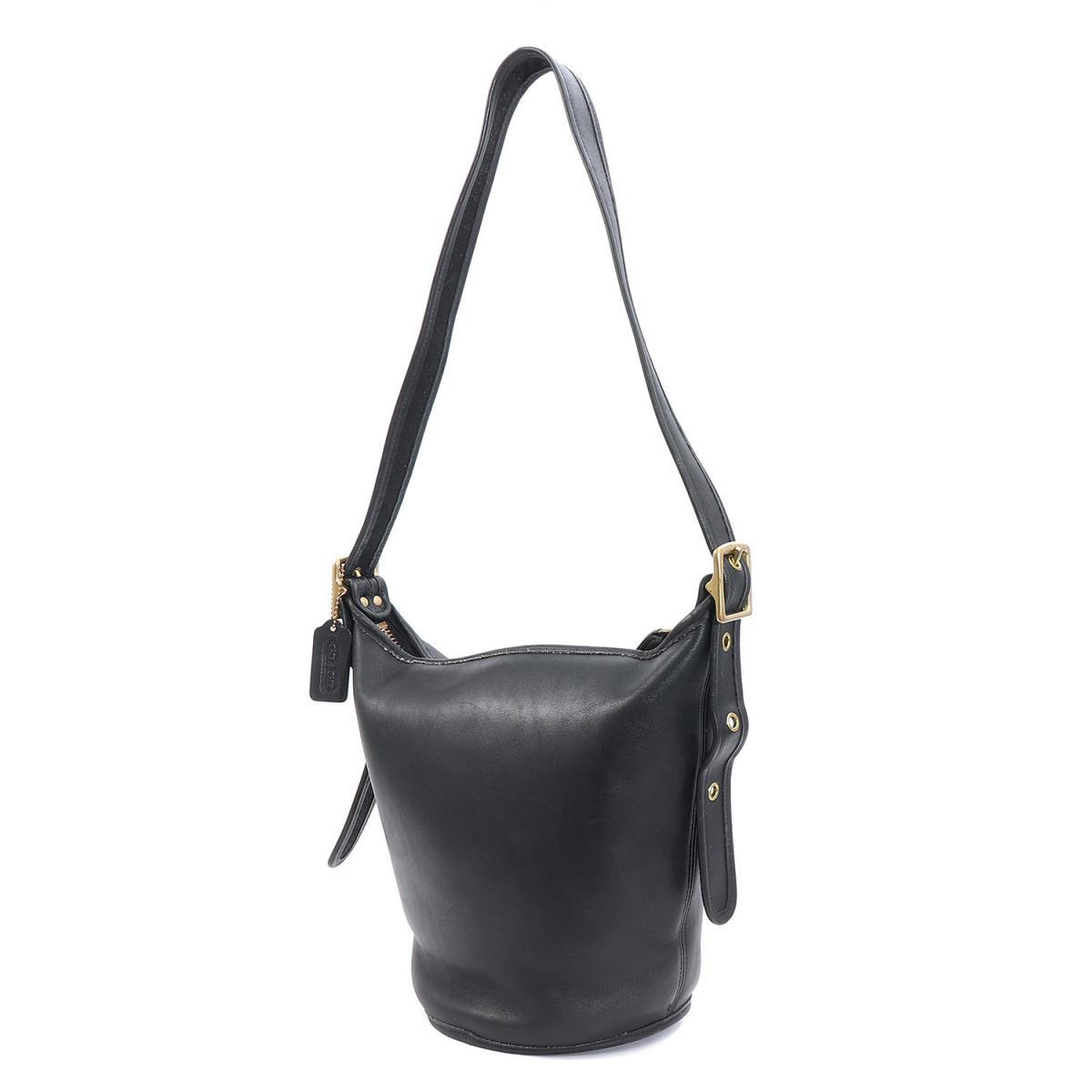 Coach Bucket Type Oar Leather Shoulder Bag Old Black