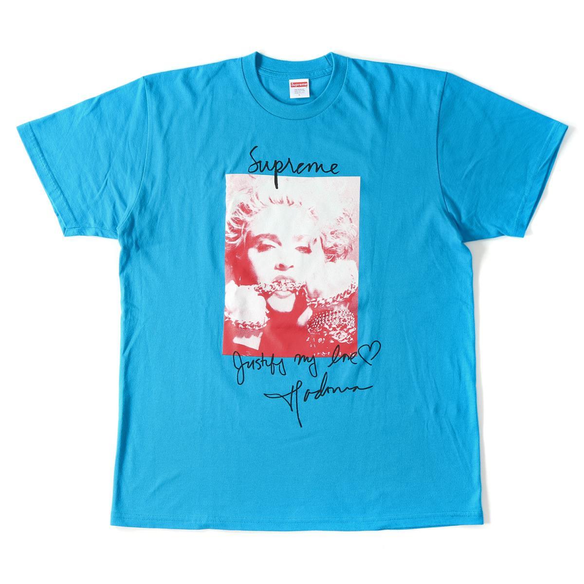 Supreme (シュプリーム) 18A/W マドンナ フォト Tシャツ (Madonna Tee) ブライトブルー L 【美品】【メンズ】【K2033】【中古】【あす楽☆対応可】