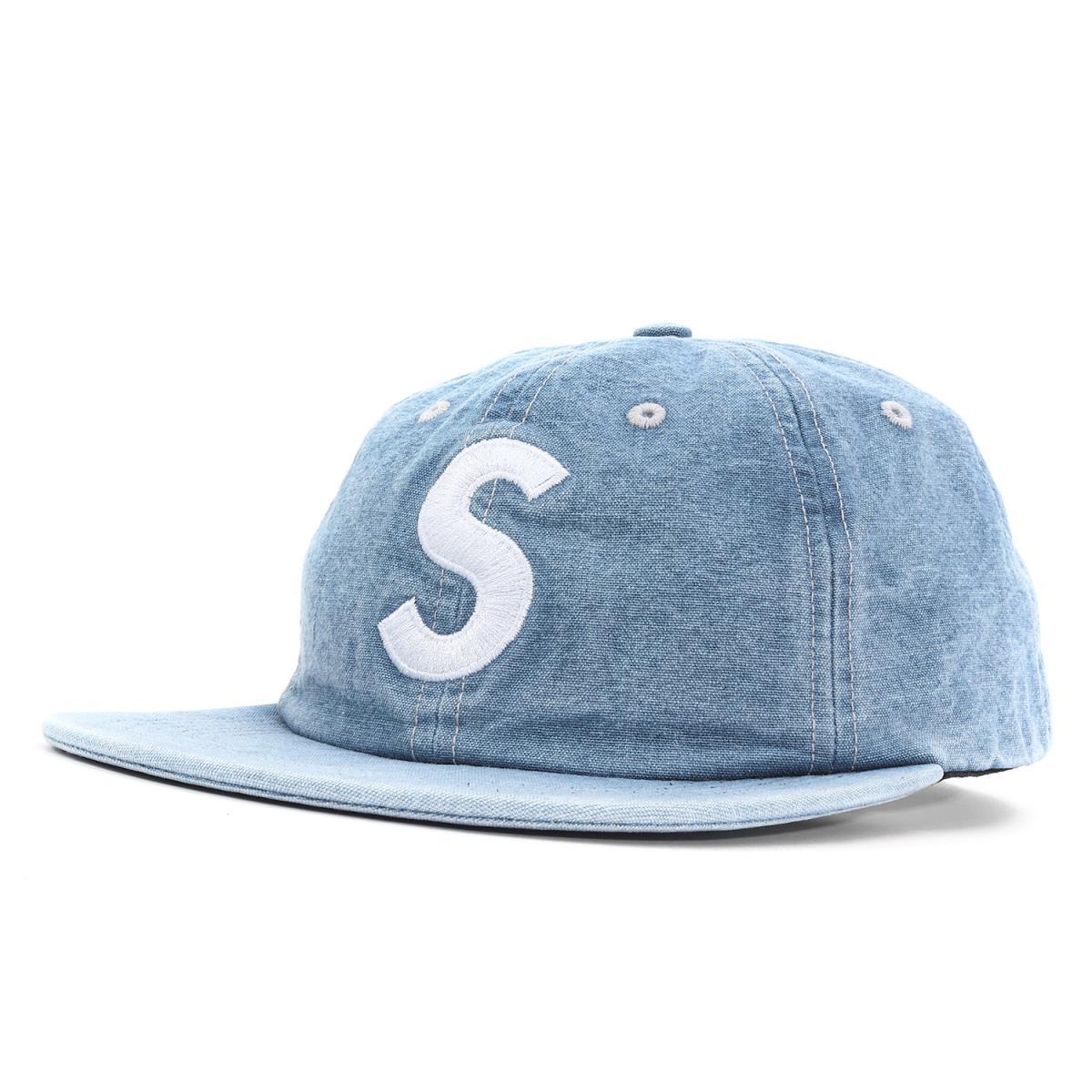 Supreme (シュプリーム) 18S/S シャンブレーSロゴ6パネルキャップ(Washed Chambray S Logo 6-Panel) ブルー 【メンズ】【美品】【K2035】【中古】【あす楽☆対応可】