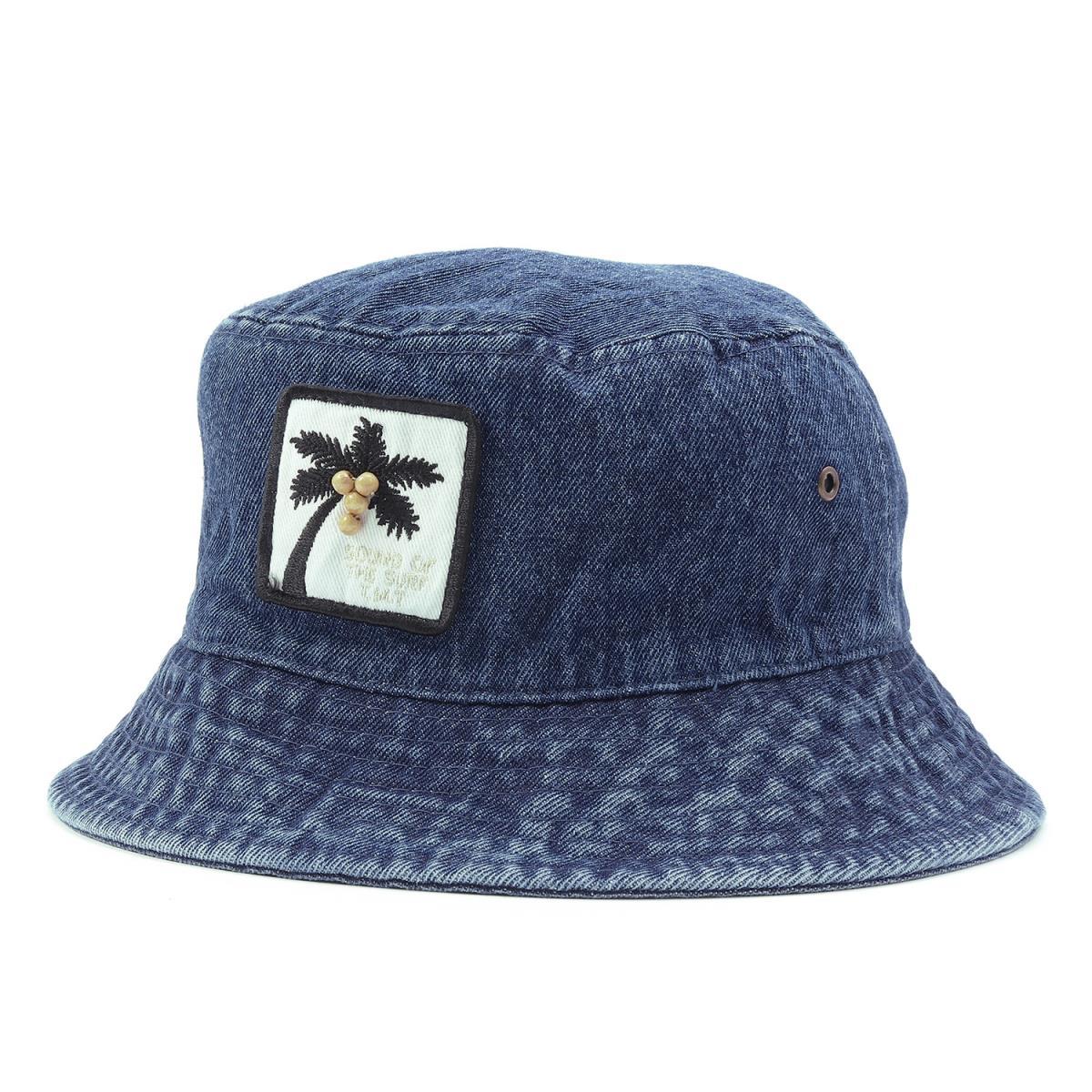 Denim pail hat (DENIM BUCKET HAT PALM TREE) indigo M with the TMT (tea M  tea) 17A W palm tree emblem 341c2297a84