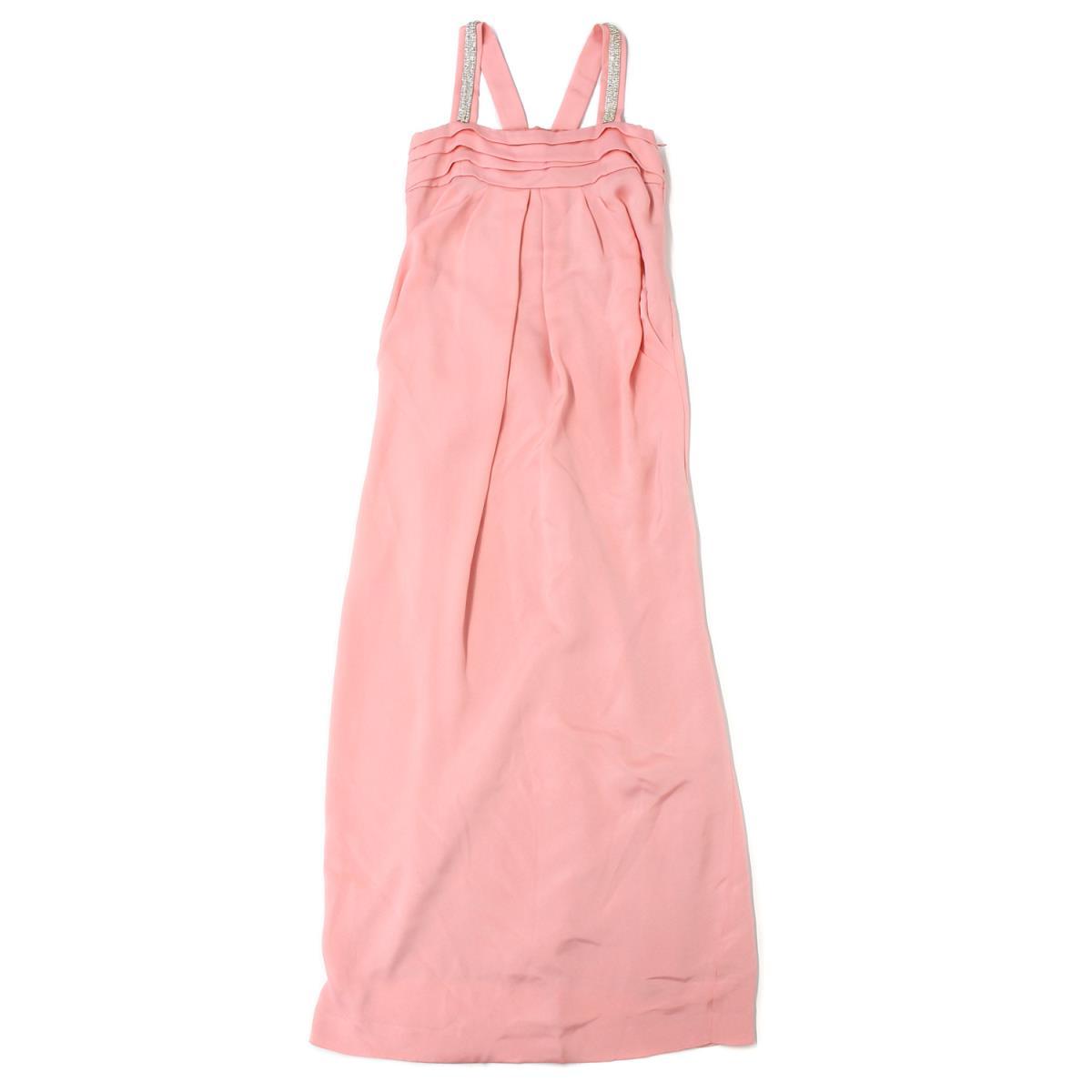 GRACE CLASS(グレースクラス) ビジュー バックリボンロングドレス ワンピース ピンク 36(S) 【レディース】【K2043】【中古】