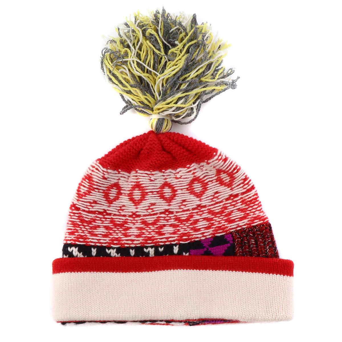 a1831ef69de Pattern block cashmere wool knit cap ivory X red X black with the BURBERRY ( Burberry) bonbon