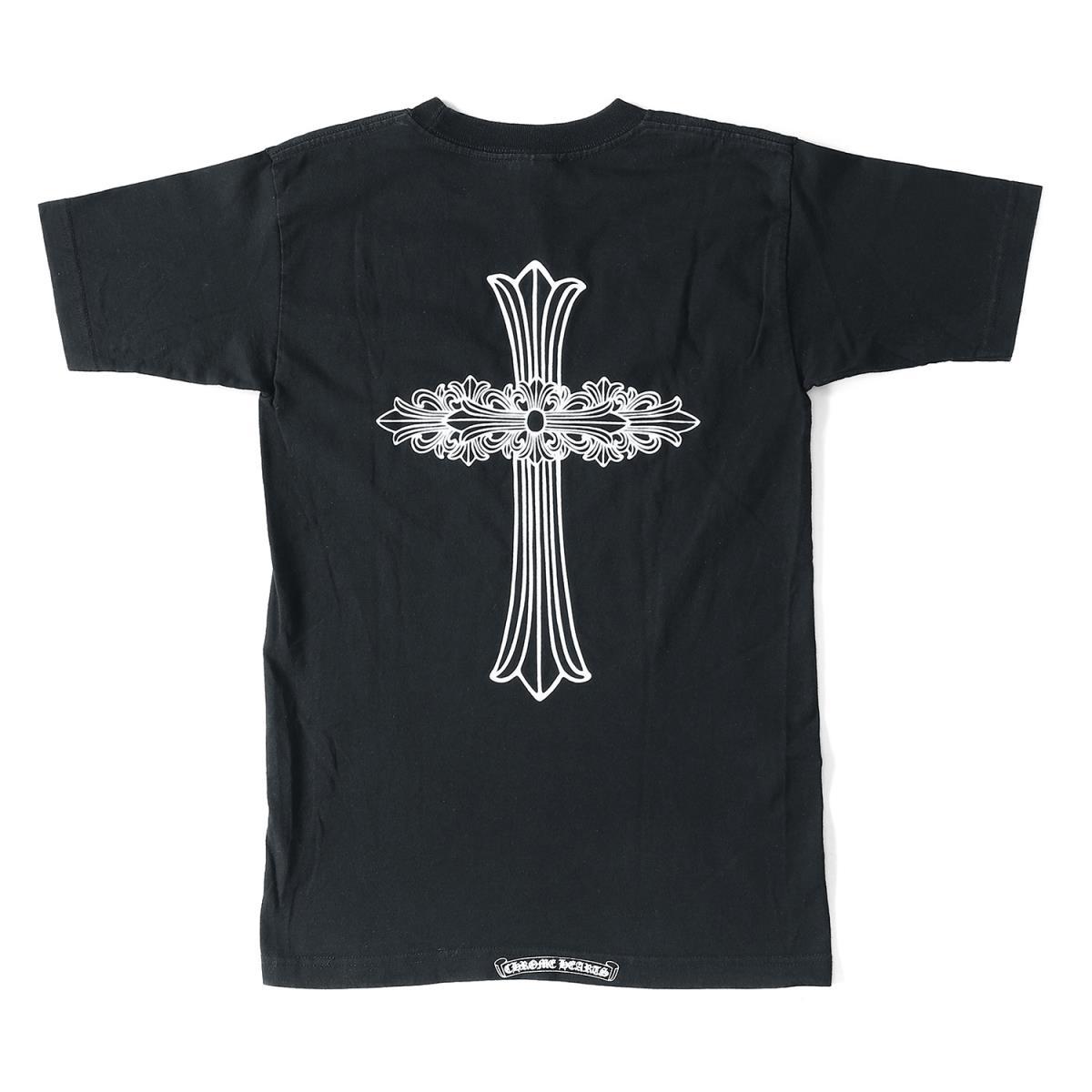 CHROME HEARTS (クロムハーツ) ポケット付きフローラルクロスTシャツ ブラック S 【メンズ】【K2055】【中古】【あす楽☆対応可】