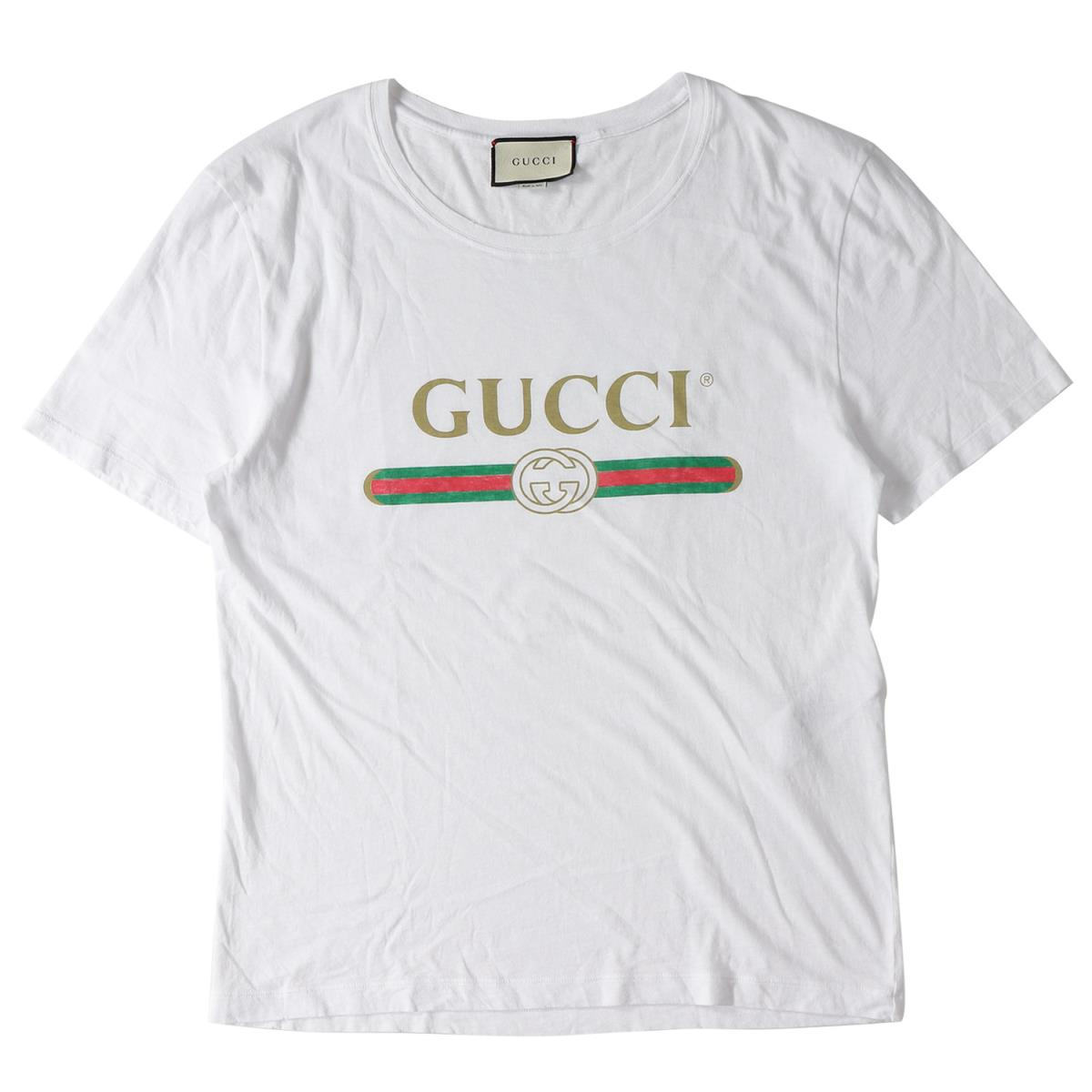 GUCCI (グッチ) 17S/S ダメージ加工クラシックブランドロゴTシャツ ホワイト L 【メンズ】【美品】【K2058】【中古】【あす楽☆対応可】