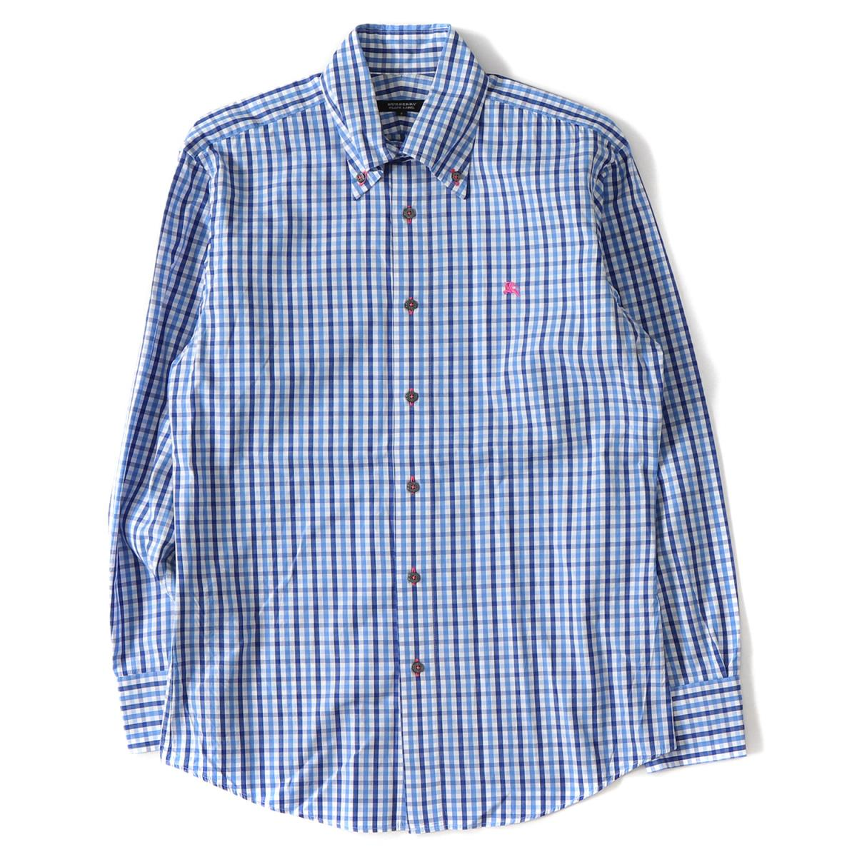 faee7680 BURBERRY (Burberry) icon embroidery gingham checked pattern cotton button-down  shirt blue 2 ...