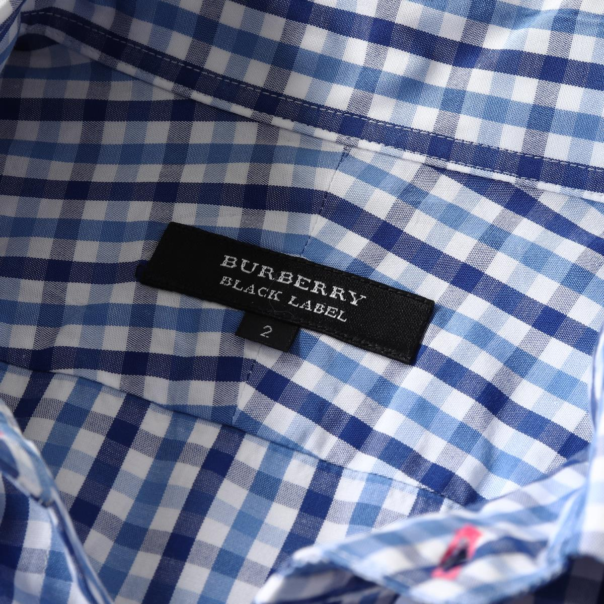 090a2664 ... BURBERRY (Burberry) icon embroidery gingham checked pattern cotton  button-down shirt blue 2 ...