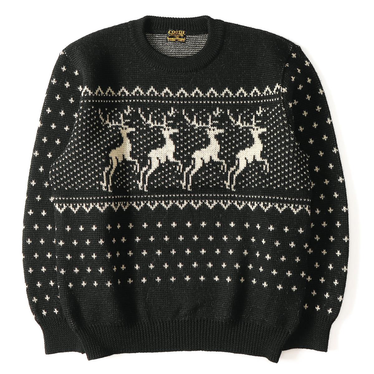 COOTIE (クーティー) 14A/W トナカイノルディック柄クルーネックニットセーター(Trapper Sweater) ブラック L【メンズ】【美品】【K2066】【中古】【あす楽☆対応可】