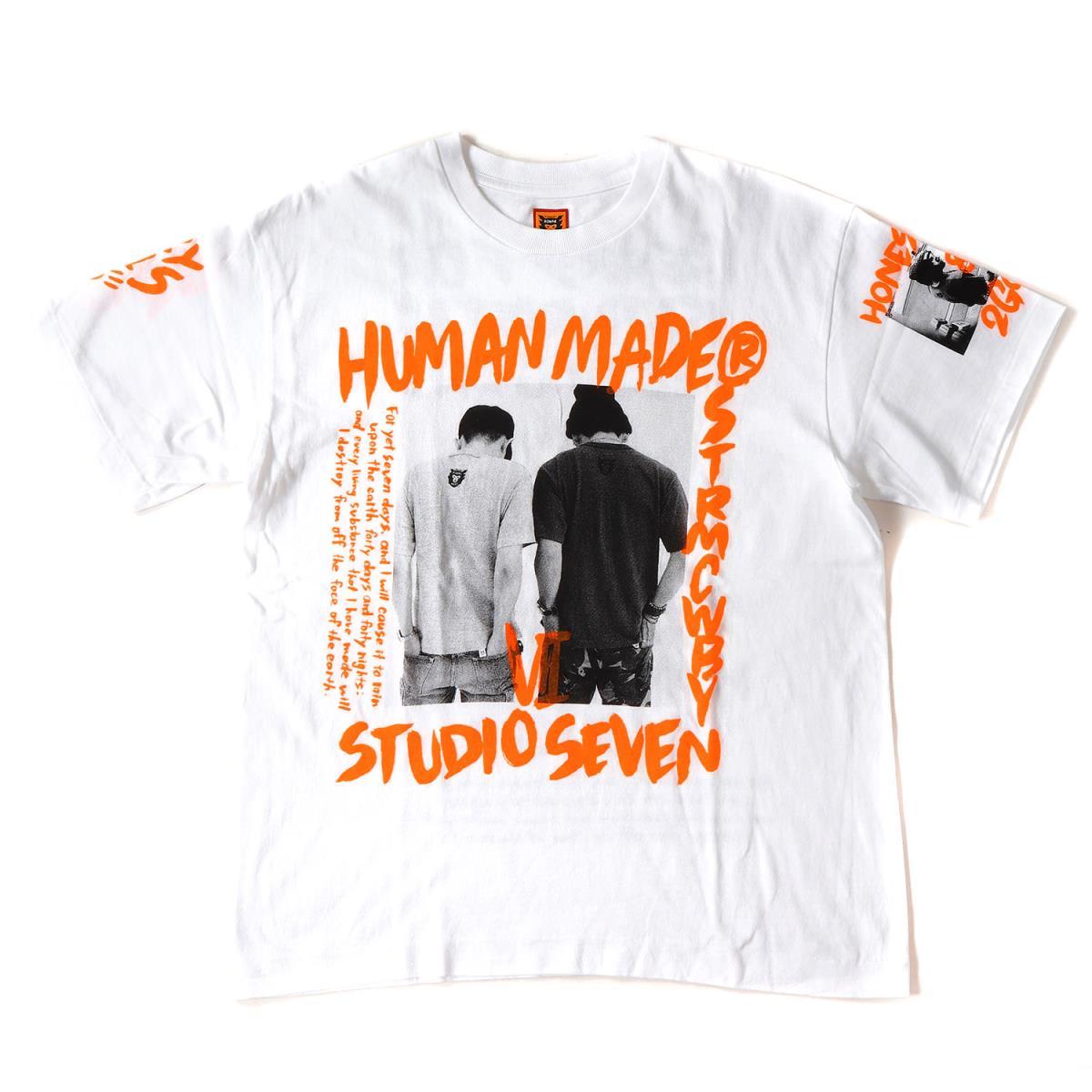 HUMAN MADE (ヒューマンメイド) 17A/W ×STUDIO SEVEN 初売り限定 フォトグラフィックTシャツ ホワイト×オレンジ S 【美品】【メンズ】【K2069】【中古】【あす楽☆対応可】