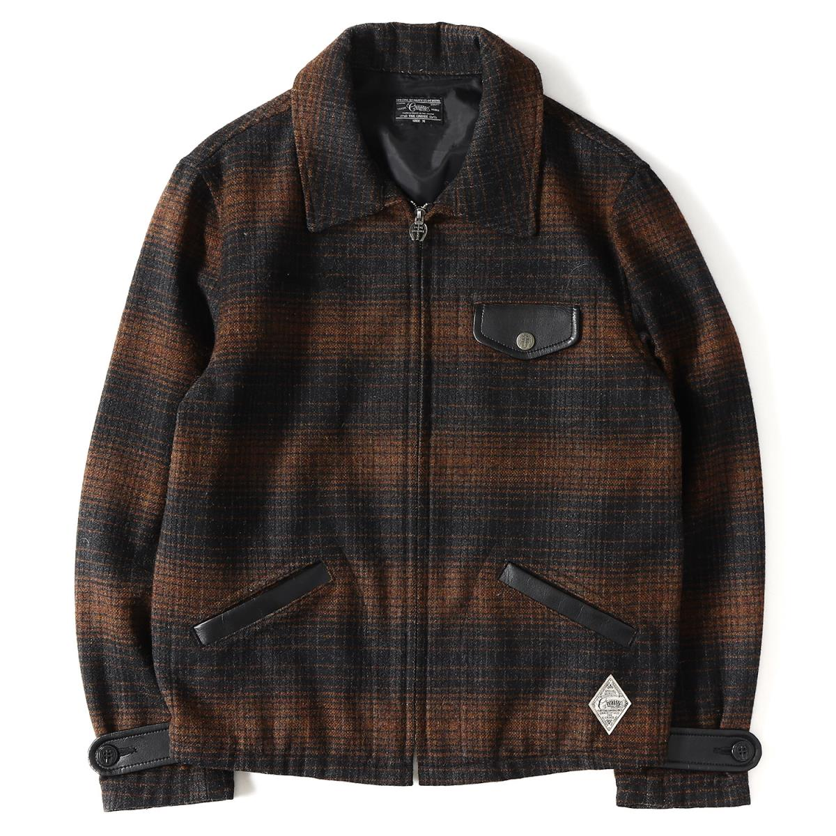 CRIMIE (gloomy me) chain logo embroidery checked pattern melton sports  jacket (SAGE BRUSH) brown X black M