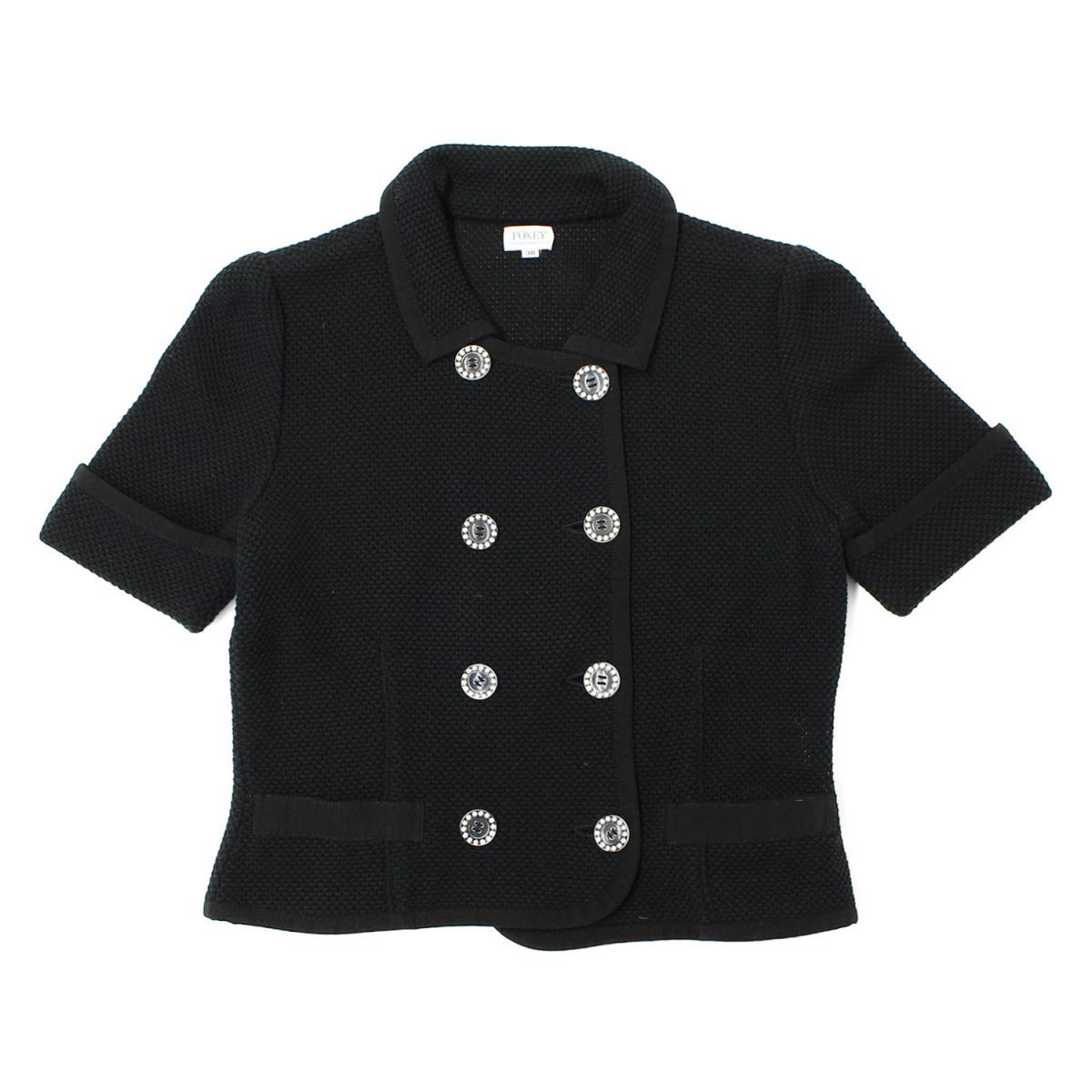 FOXEY(フォクシー) メッシュ襟付き半袖ニットジャケット スカート セットアップ フォーマル ブラック 38 【レディース】【美品】【K2073】【中古】
