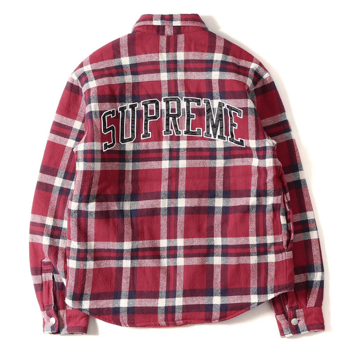 Supreme (シュプリーム) 17A/W キルティング付きアーチロゴチェックネルシャツ(Quilted Arc Logo Flannel Shirt) レッド S 【美品】【メンズ】【K2076】【中古】【あす楽☆対応可】