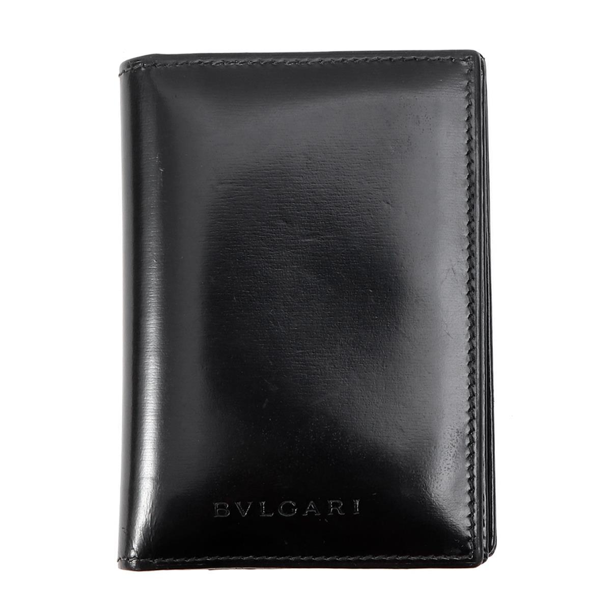 BVLGARI (ブルガリ) ブランドロゴレザーカードケース ブラック 【メンズ】【K2076】【中古】【あす楽☆対応可】