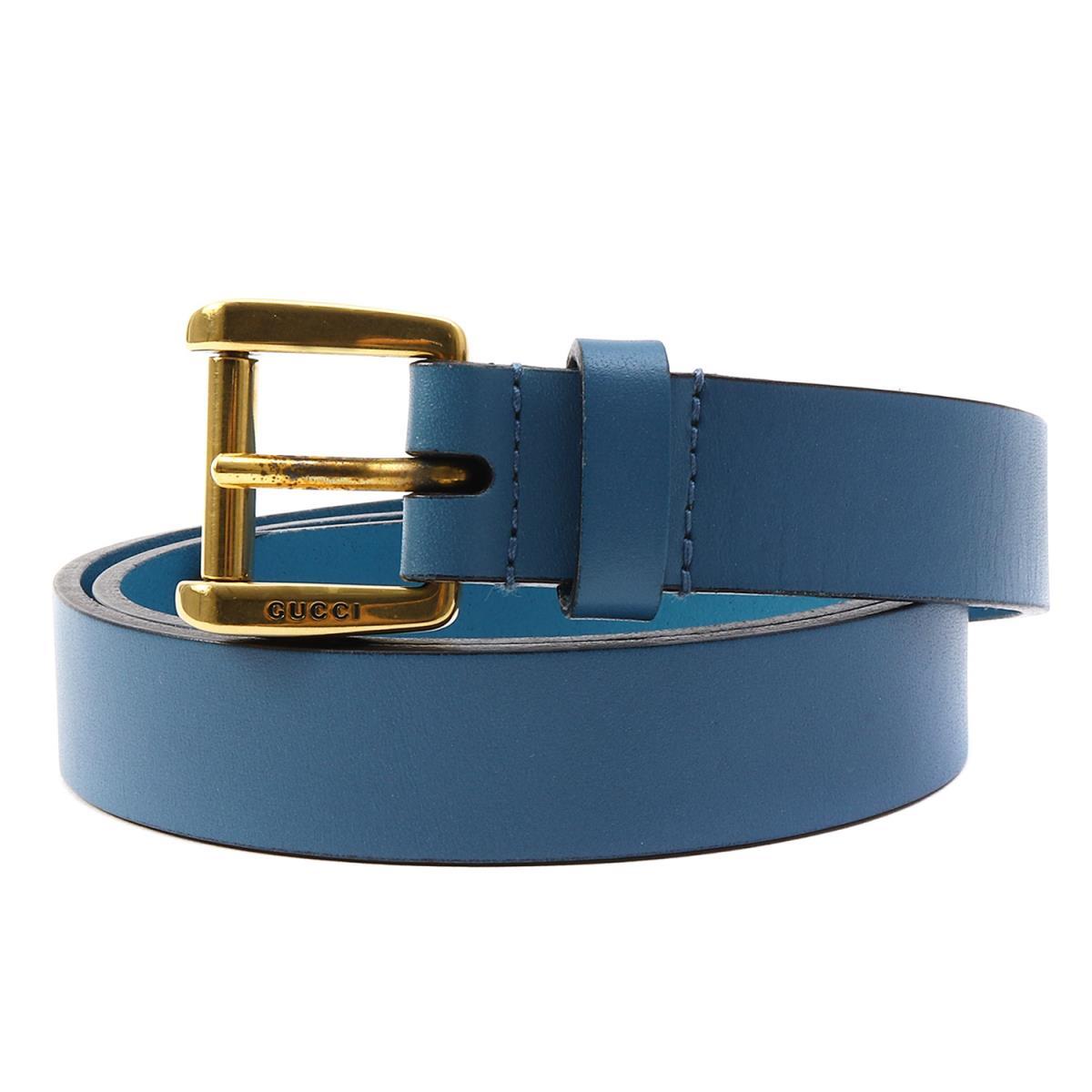 GUCCI (グッチ) レザーナローベルト ブルー 34(85cm) 【美品】【メンズ】【K2076】【中古】【あす楽☆対応可】