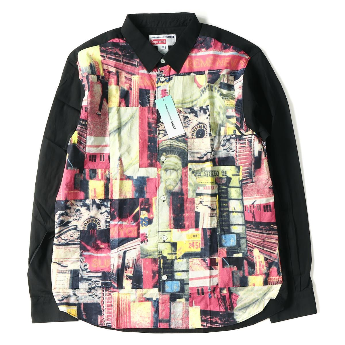 Supreme (シュプリーム) 18A/W ×COMME des GARCONS パッチワークシャツ(Patchwork Button Shirt) ブラック M 【メンズ】【K2079】【あす楽☆対応可】