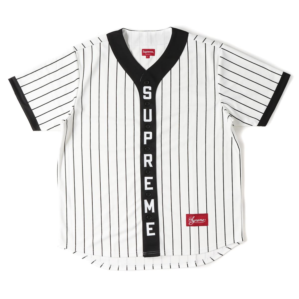 Supreme (シュプリーム) 18A/W バーチカルロゴベースボールシャツ(Vertical Logo Baseball Jersey) ホワイト L 【メンズ】【K2079】【あす楽☆対応可】