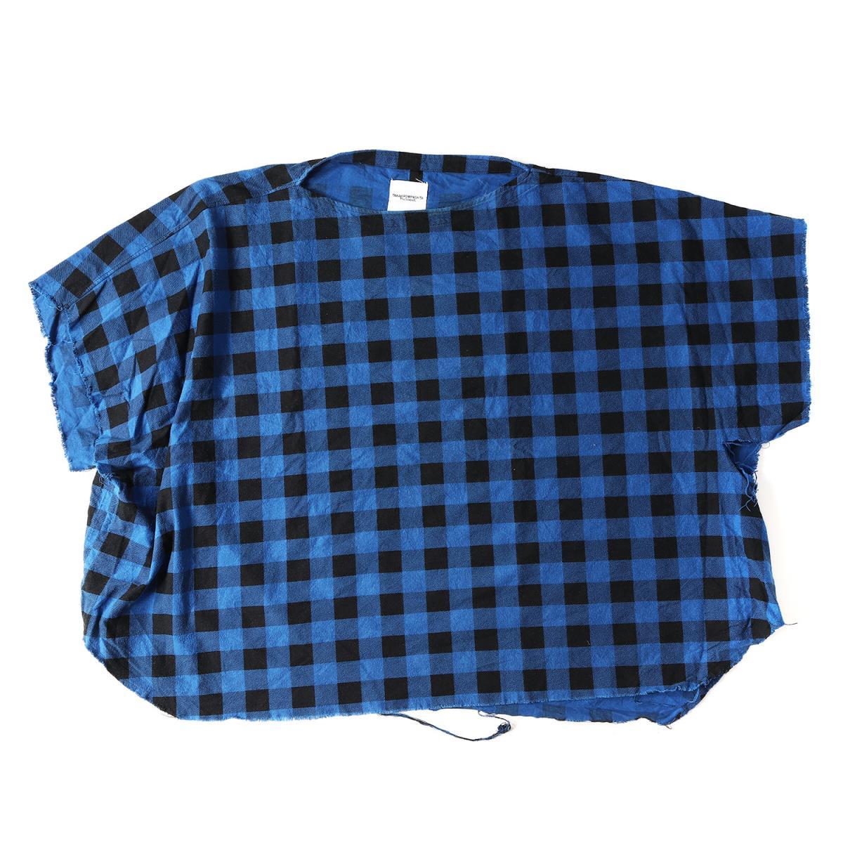 The SoloIst. (ザ ソロイスト) 15S/S ブロックチェックネルポンチョシャツ(sg.0259 Poncho Shirt) ブルー 46 【メンズ】【K2079】【中古】【あす楽☆対応可】