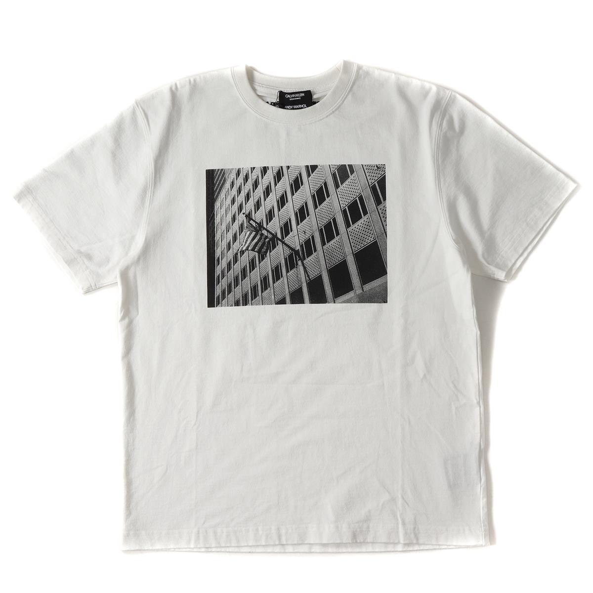 Calvin Klein (カルバンクライン) ×Andy Warhol 星条旗プリントコットンクルーネックTシャツ ホワイト M 【メンズ】【美品】【K2086】【中古】【あす楽☆対応可】