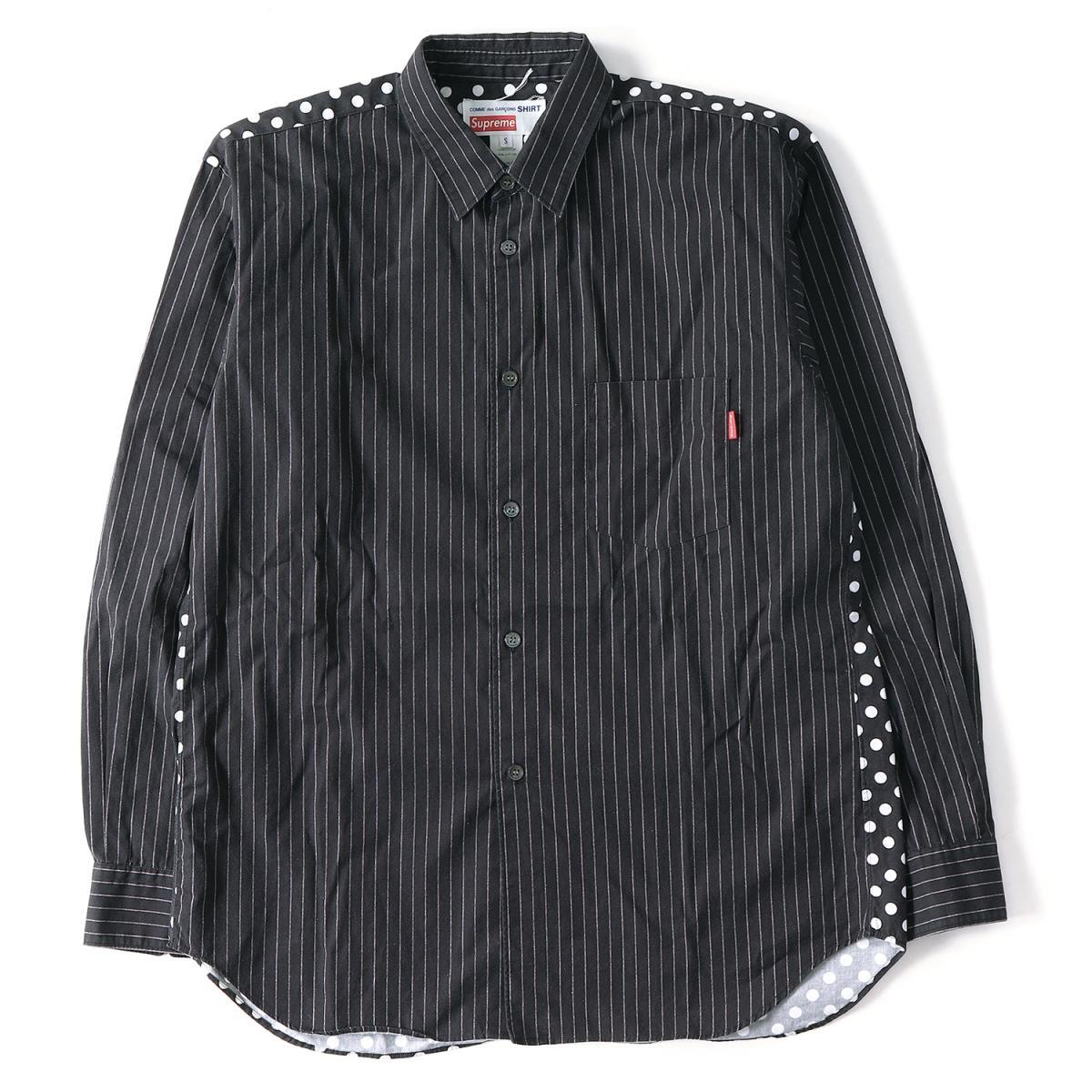 Supreme (シュプリーム) 14S/S ×COMME des GARCONS SHIRTS ストライプシャツ(Button-DownShirt) ブラック×ホワイト S 【メンズ】【K2090】【中古】【あす楽☆対応可】