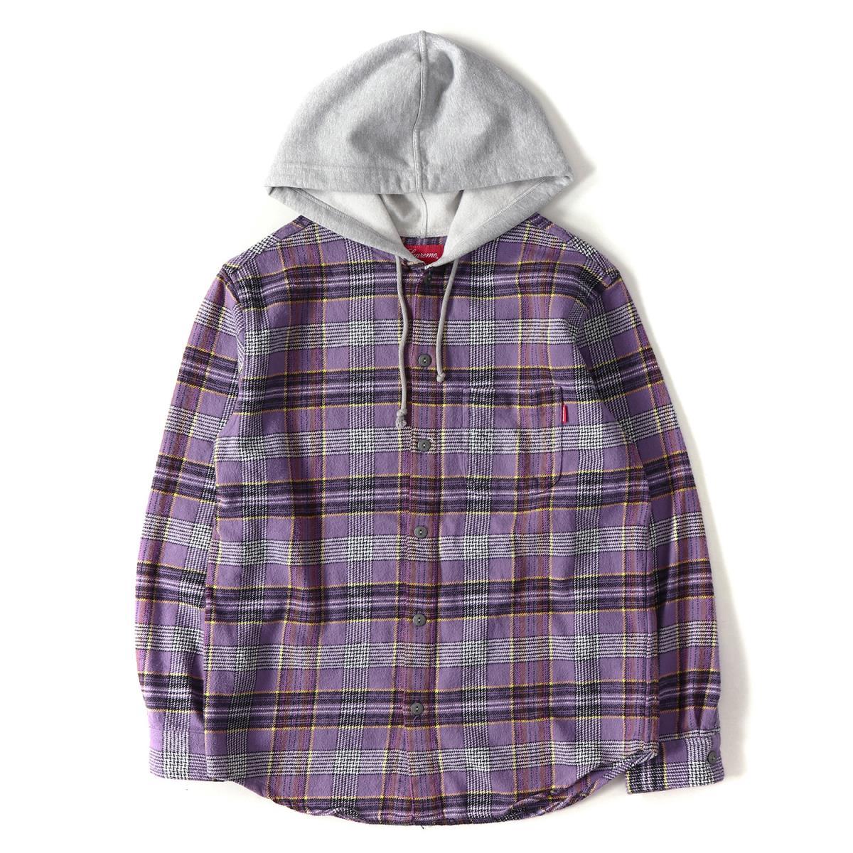 Supreme (シュプリーム) 18S/S フード付きチェックネルシャツ(Hooded Plaid Flannel Shirt) パープル S 【美品】【メンズ】【K2090】【中古】【あす楽☆対応可】